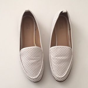 White Perforated Slip On Loafers sz 9.5